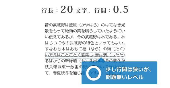 行長:20文字、行間:0.5のサンプル